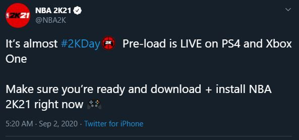 pre load live nba2k21