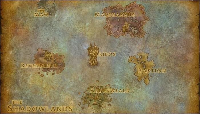 World of Warcraft Shadowlands release date map ardenweald bastion maldraxus revendreth oribos the maw