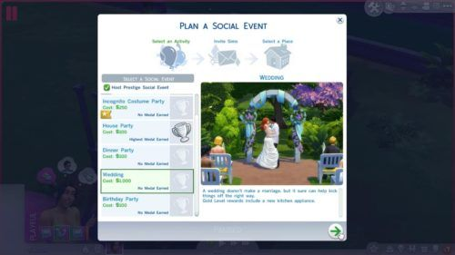 wedding invite screen for the Sims 4