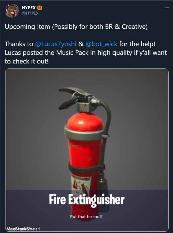 fortnite hypex تسرب طفايات الحريق