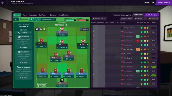 FM21 team sheet