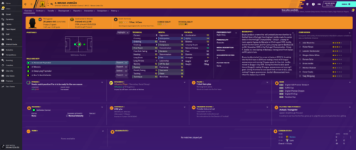 Jordao's starting Football Manager 2020 attributes and information.