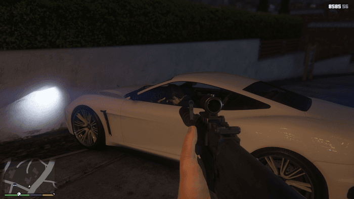 GTA V first person mode Mike holding AR