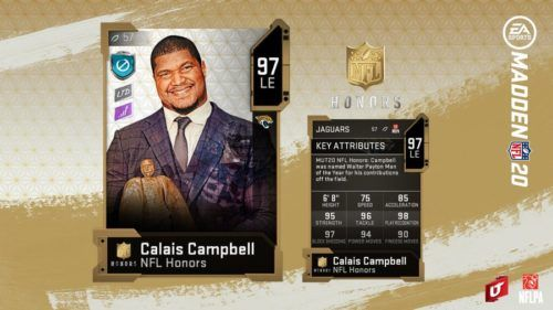 Calais Campbell's NFL Honors card in MUT