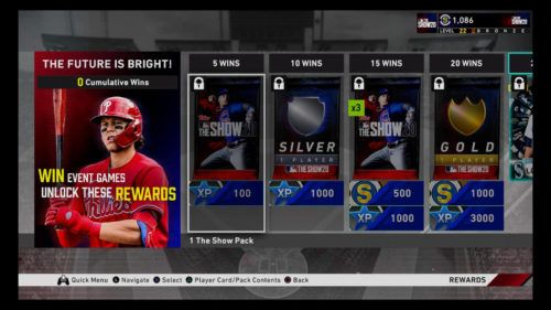 MLB The Show 20 Diamond Dynasty event game mode The Future Is Bright 1 rewards