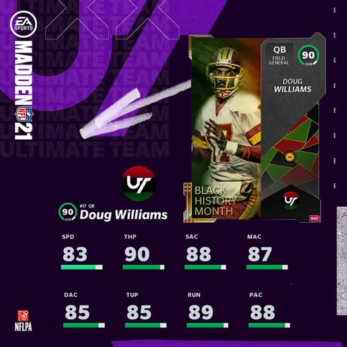 Doug Williams 90 OVR black history month card for Madden Ultimate Team 21