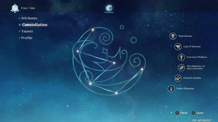 Genshin Impact Eula constellations