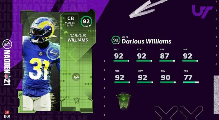Madden 21 TOTW Darious Williams