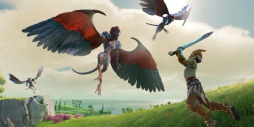 A warrior battles a winged creature in Gods & Monsters