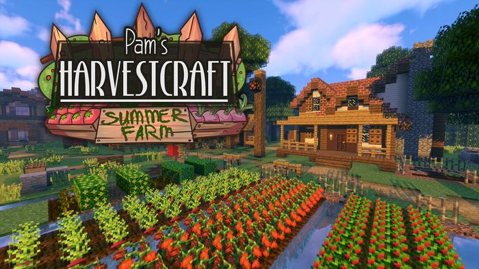 Pam's Harvestcraft Mod. Field on screen and title card.
