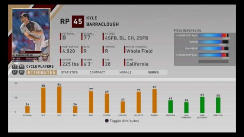 Kyle Barraclough MLB The Show 20 best minor league players RTTS Franchise Mode