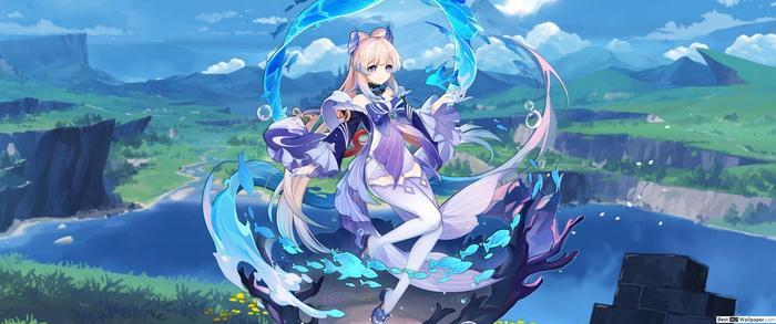 Image of Kokoi Sangonomiya with the background of Inazuma