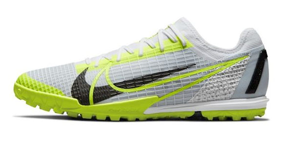 Best astroturf football boots Nike Mercurial product image of a single white and fluorescent yellow boot