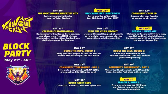 knockout city release schedule