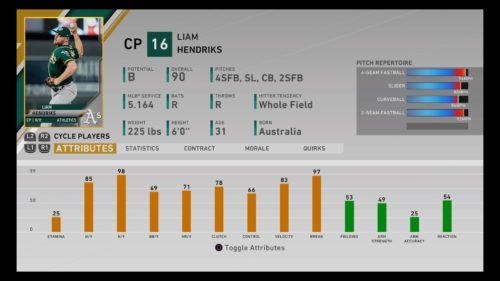MLB The Show 20 Liam Hendriks Diamond Dynasty Closing Pitcher RTTS Franchise Mode