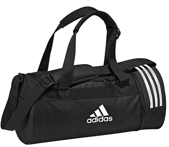Best gym bag adidas product image of a black bag with the typical three white adidas stripes