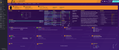 Patricio's starting Football Manager 2020 attributes and information.