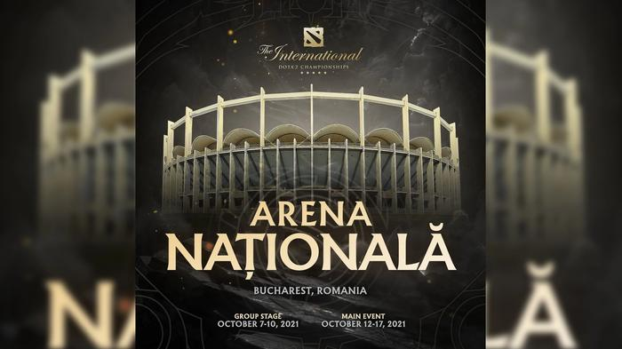 A poster for the venue change for DOTA 2  The International, showing Arena Nationala in Romania