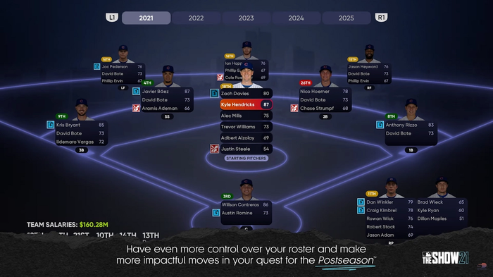 MLB The Show 21 March to October Franchise Mode Depth Chart