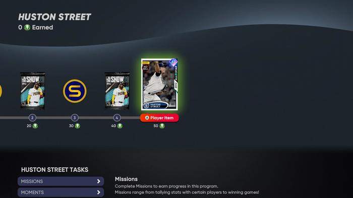 MLB The Show 21 Diamond Dynasty 1st Inning Huston Street Player Program