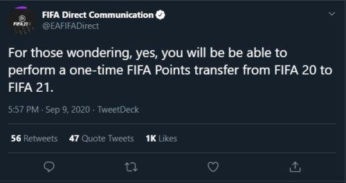 FIFA 20 Points Transferable to FIFA 21 Points