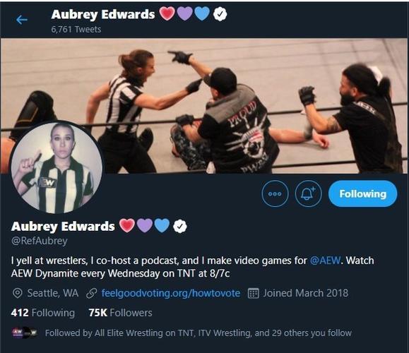 aubrey edwards aew twitter bio