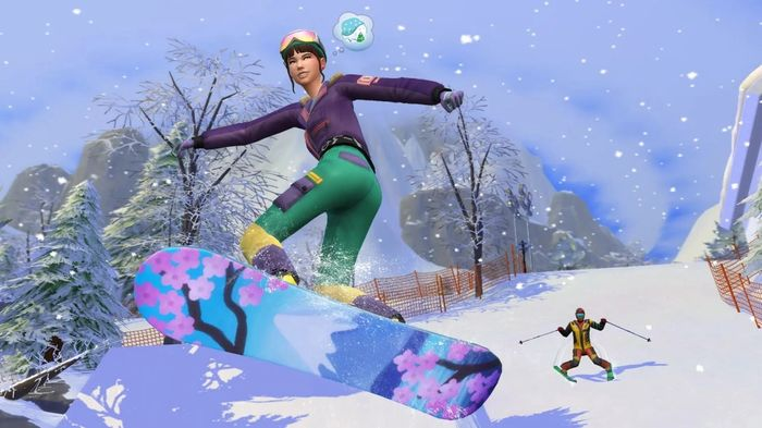 The Sims 4 snowboarding