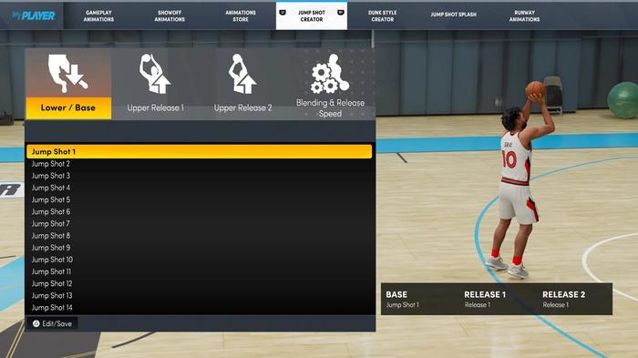 The jumpshot creator tool in NBA 2K22
