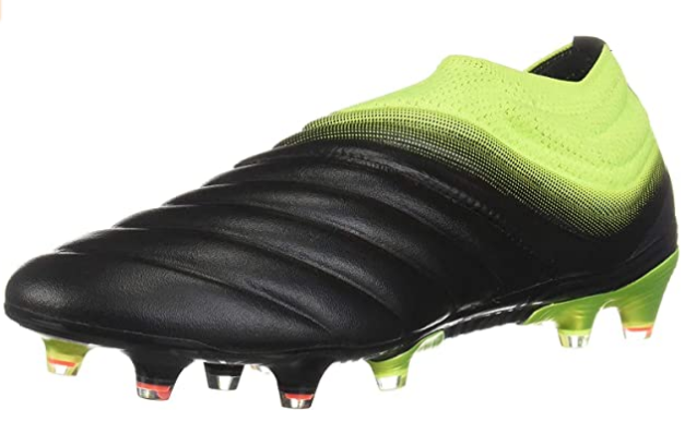 Best football boots adidas Copa19+ product image of a singular black and fluorescent yellow boot