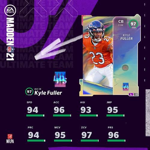 Kyle Fuller LTD Madden ultimate team 97 OVR card