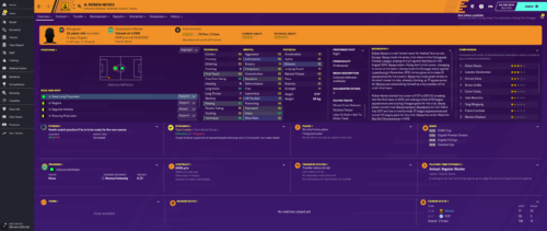 Neves' starting Football Manager 2020 attributes and information.