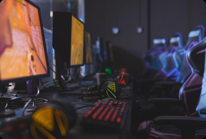 gscience gaming set up headphones monitors