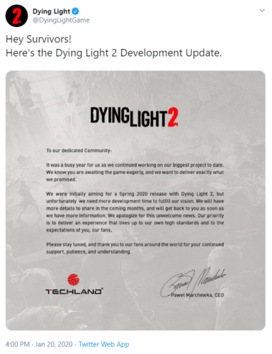 The latest update on Dying Light 2