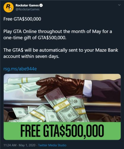 GTA Online free GTA 500000 for playing in May