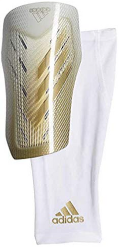 Best shin pads adidas product image of a single white and gold shin pad with an accompanying compression sock