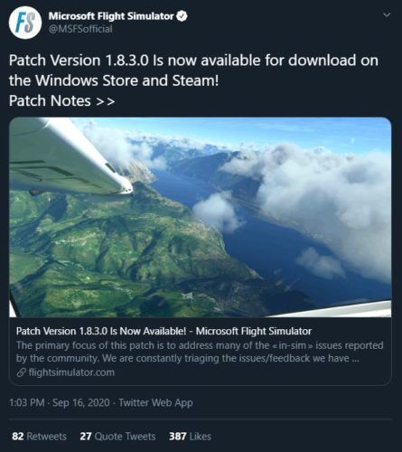 Microsoft Flight Simulator 2020 update 1 8 3 0 is live 1