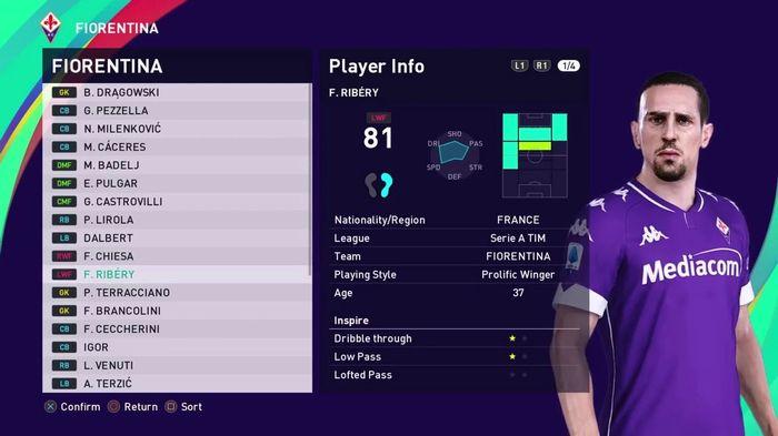 franck ribery fiorentina squad PES 2021