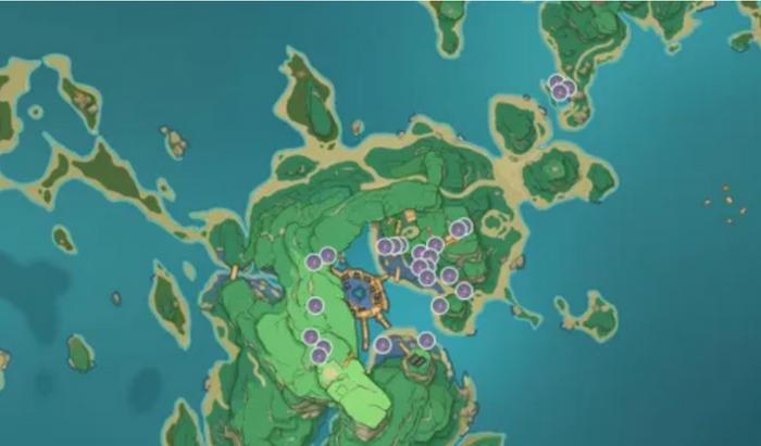 A map of Island Tatsurana in Inazuma, Genshin Impact