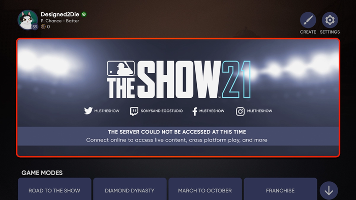 MLB The Show 21 servers down status unhandled server exception occurred
