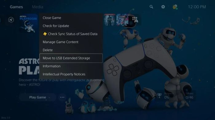PS5 move to storage