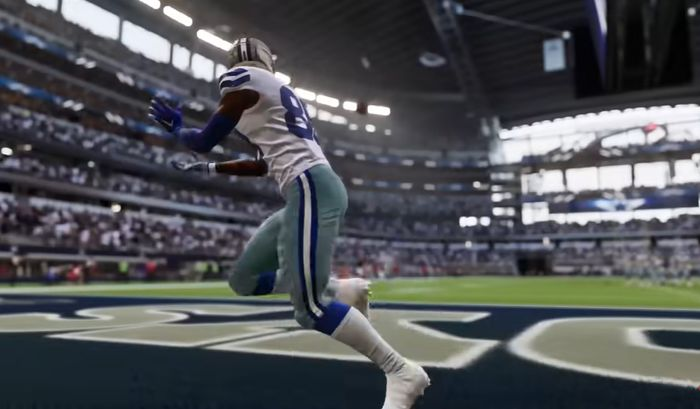 Amari Cooper, wide receiver for the Dallas Cowboys, makes a touchdown catch. Madden 22