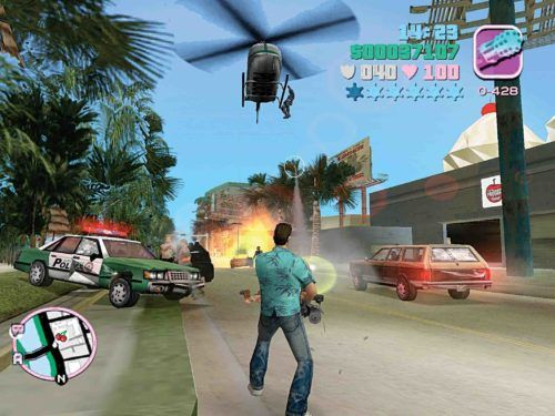 GTA Vice City PS2 Tommy Fighting Police