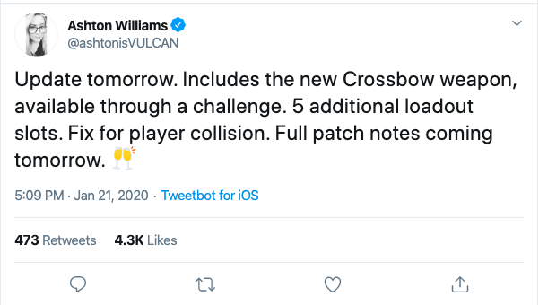 Ashton Williams' tweet about the CoD patch notes