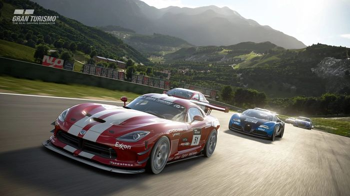 Racing is what GT does best. Here we have a race around an Alpine circuit.