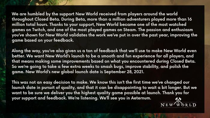 New World release date delay announcement amazon games