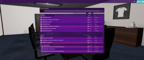 Tottenham Hotspur's board expectations at the start of FM20.