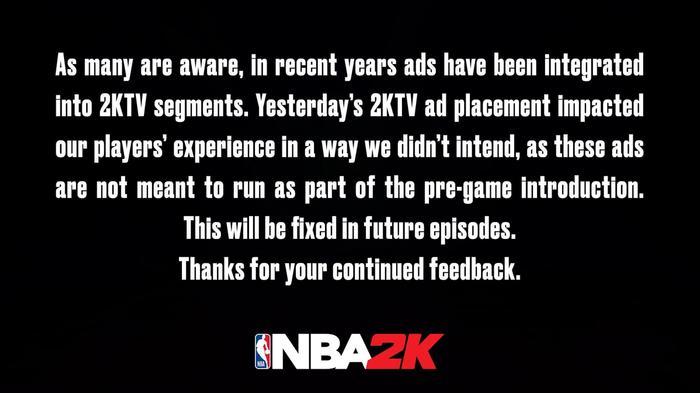 NBA 2K21 unskippable ads 2Ktv 1