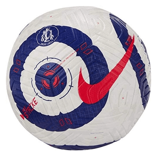 Best footballs Nike product image of a white ball with blue rings as detail and a red tick