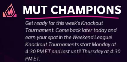 Madden 22 MUT Champions Knockout Tournament Weekend League