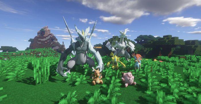 Minecraft Pixelmon Generations.  Pokemon stood on field.
